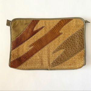 Vtg Textured Straw & Leather Clutch